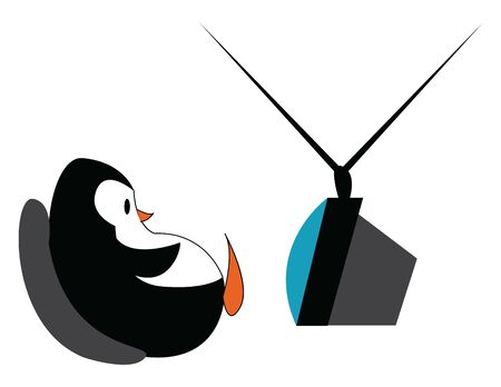 A penguin sitting and watching tv, vector, color drawing or illustration.