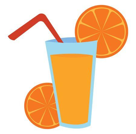 Glass of orange juice, illustration, vector on white background.