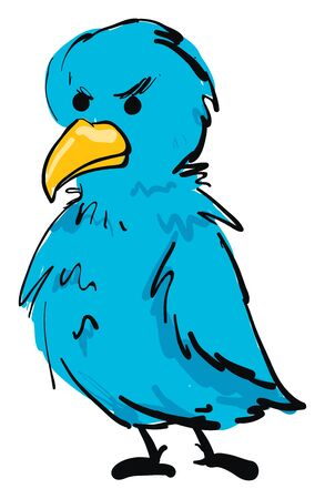 Angry blue bird, illustration, vector on white background.