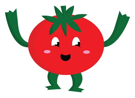 A cute tomato with legs and hands, vector, color drawing or illustration. Иллюстрация