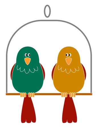 Two cute birds on swing, illustration, vector on white background.