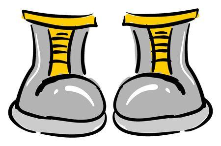 Small gray boots, illustration, vector on white background Ilustración de vector
