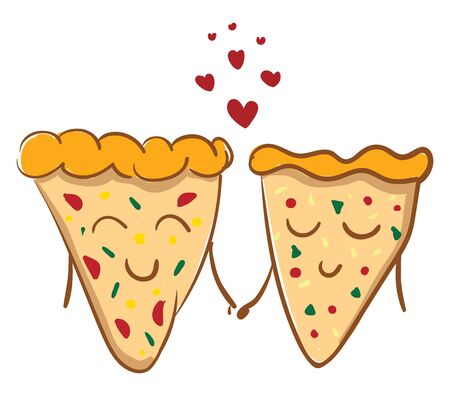 A two pieces of pizza holding hand in love, vector, color drawing or illustration. Иллюстрация