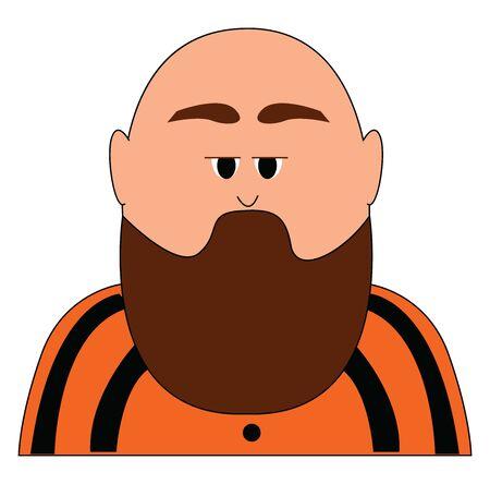 Bald man with beard, illustration, vector on white background. Ilustracja