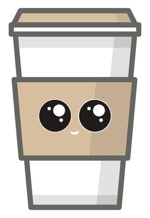 Coffee to go with cute eyes, illustration, vector on white background. Illusztráció