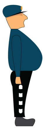 An old policeman with a big belly, vector, color drawing or illustration.