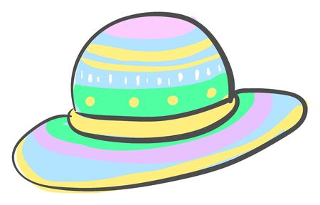 Multicolor woman hat, illustration, vector on white background.