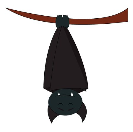 A upside down hanging bat which is sleeping, vector, color drawing or illustration.