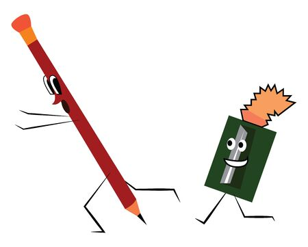 A funny sketch of a pencil and a sharpener, vector, color drawing or illustration.