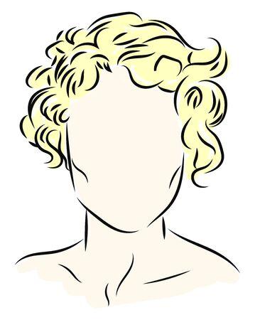 Blonde curls, illustration, vector on white background