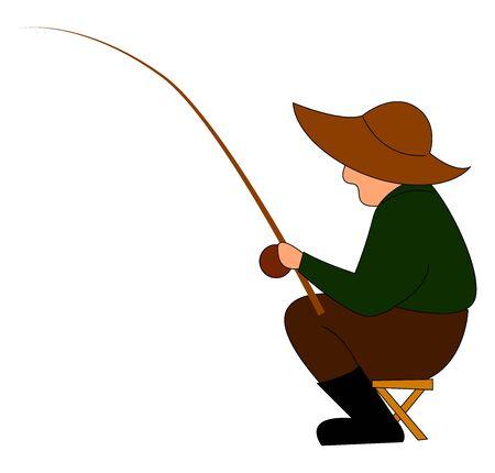Fisherman fishing, illustration, vector on white background.