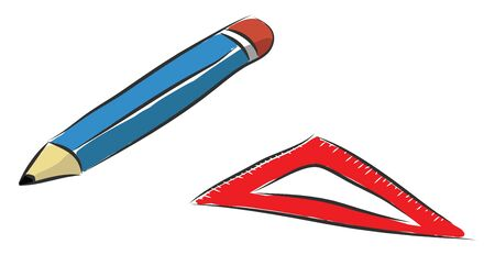 A blue pencil with a rubber and a ruler, vector, color drawing or illustration.