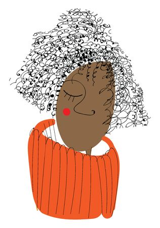 A curly brown girl with red cheek and an orange sweater, vector, color drawing or illustration. Foto de archivo - 132770889