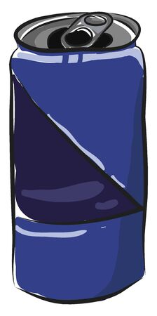 A blue opened soda can, vector, color drawing or illustration.