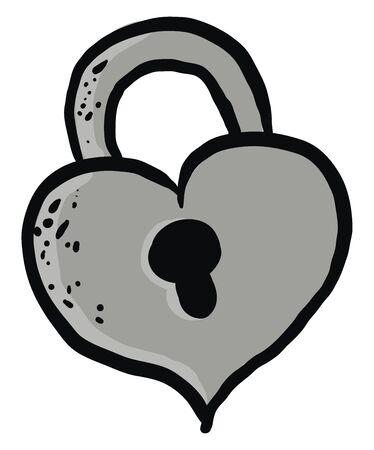 Heart shaped lock, illustration, vector on white background.