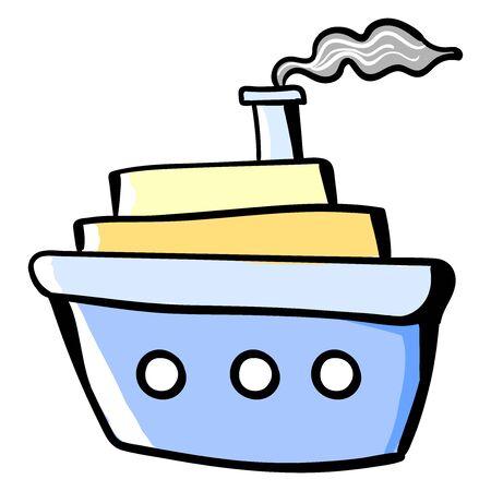 Big ship on sea, illustration, vector on white background. 向量圖像