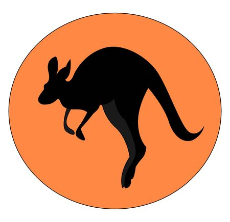 Kangaroo jumping, illustration, vector on white background.