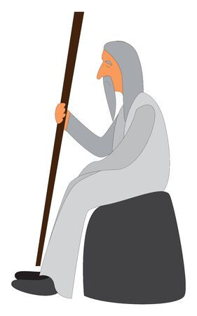 A monk with a gray long beard and a gray hair holding a long wooden stick sitting on a rock, vector, color drawing or illustration.