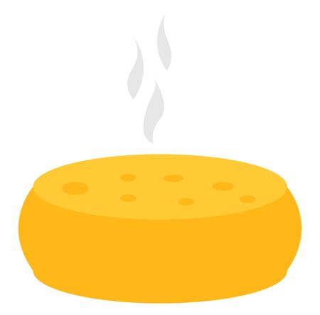 Big round cheese, illustration, vector on white background.