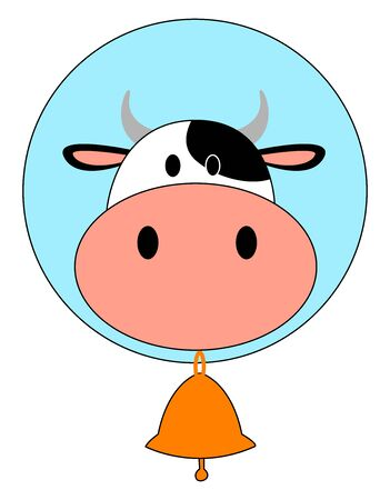 Cow with bell, illustration, vector on white background.