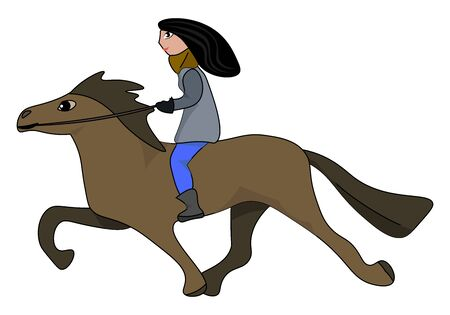 Female horse rider, illustration, vector on white background.