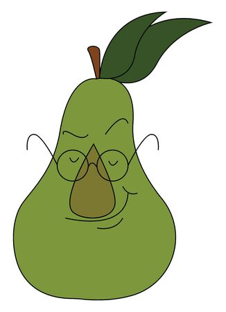 A cute big fat pear wearing glasses, vector, color drawing or illustration.