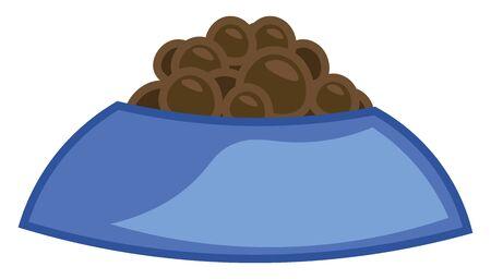 A dog food in a blue dog food bowl, vector, color drawing or illustration.