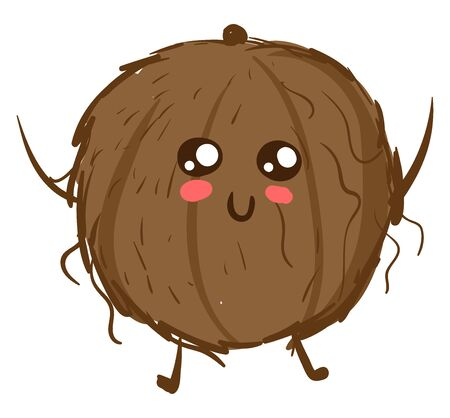 Adorable coconut, illustration, vector on white background. 일러스트