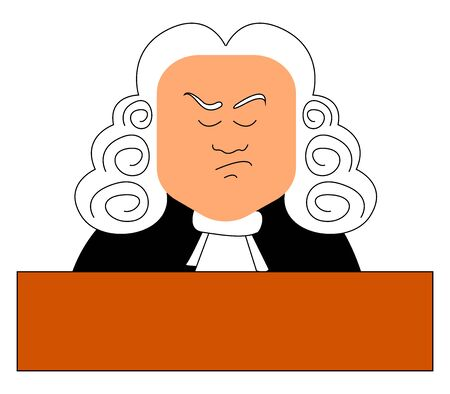 Judge with wig, illustration, vector on white background.