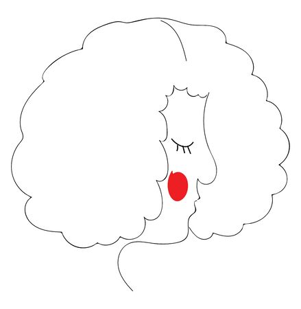 A curly girl with red cheek, vector, color drawing or illustration.