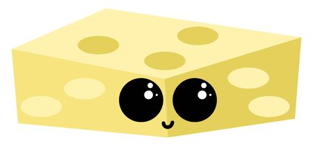 Cheese with eyes, illustration, vector on white background. Иллюстрация