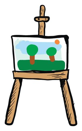 Picture with nature canvas, illustration, vector on white background.