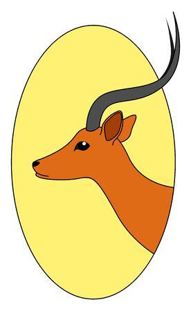 Beautiful antelope, illustration, vector on white background.