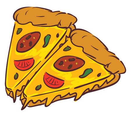 Slices of rich pizza garnished with tomatoes, vector, color drawing or illustration.