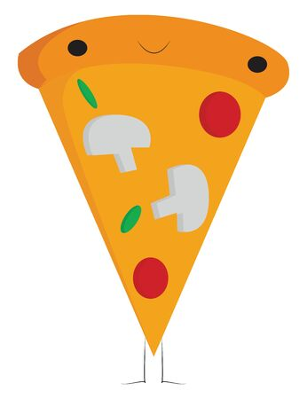 A slice of mushroom and cheese pizza, vector, color drawing or illustration.