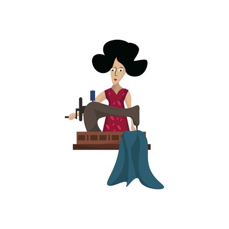 Tailor working, illustration, vector on white background.