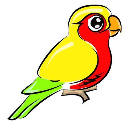 Cute little parrot, illustration, vector on white background. Stock Illustratie