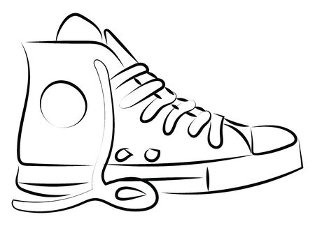 Drawing of sneaker, illustration, vector on white background.
