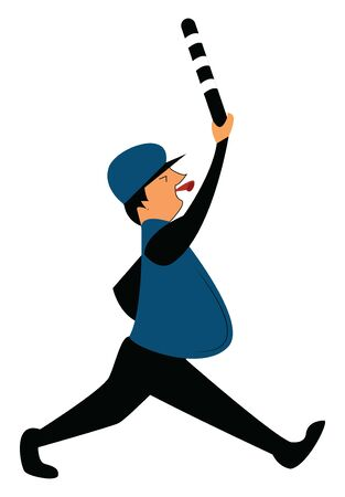 A running policeman with whistle and a stick, vector, color drawing or illustration. Illusztráció