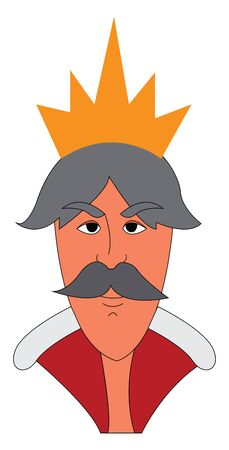A gray haired king with a mustache and a gold crown, vector, color drawing or illustration.