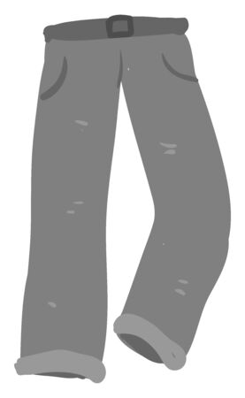 Gray man pants, illustration, vector on white background. Banco de Imagens - 132782450