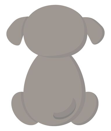 A back pose of a small cute sitting dog, vector, color drawing or illustration.