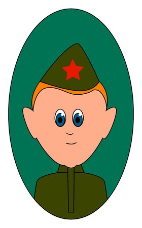 Red army soldier, illustration, vector on white background.