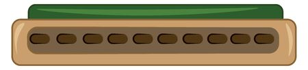 A green harmonica musical instrument, vector, color drawing or illustration.