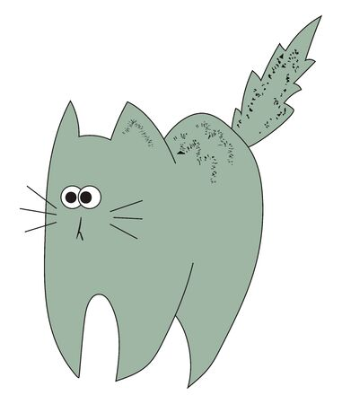 Scared grey cat, illustration, vector on white background.