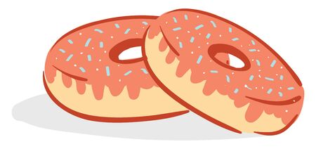 A pair of pink donuts with blue sparkles on its top, vector, color drawing or illustration.