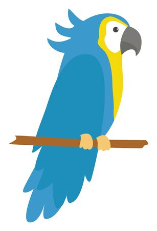 Blue parrot standing on branch, illustration, vector on white background.