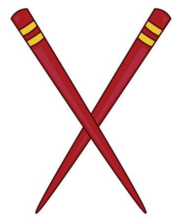 A red chopstick crossed together, vector, color drawing or illustration. Vector Illustration