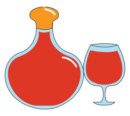 Cognac glass and bottle, illustration, vector on white background.
