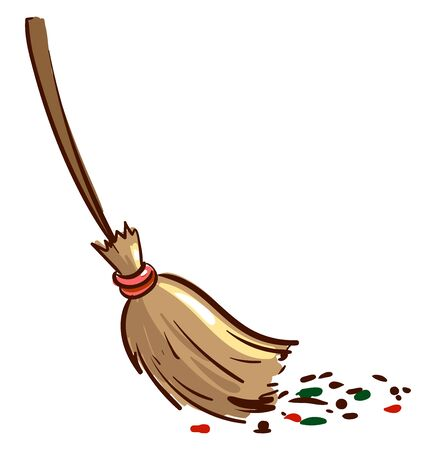 Broom sweeping dirt, illustration, vector on white background.